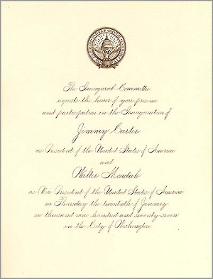 1977 Official Inaugural Invitation