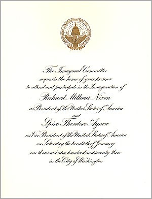 1973 Official Inaugural Invitation
