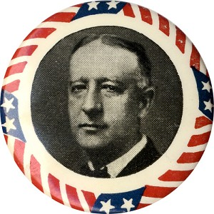 Alfred E. Smith: Classic star-and-stripes border portrait button