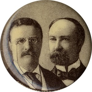 Roosevelt and Fairbanks: 1904 Republican ticket jugate pinback