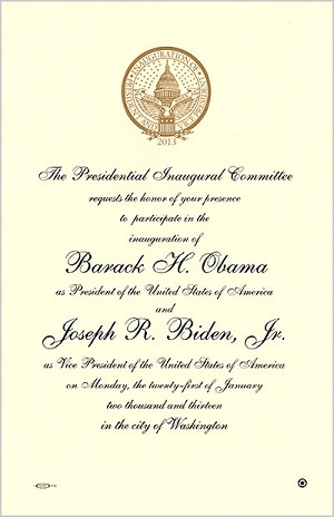 2013 Official Inaugural Invitation